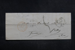 """FRANCE - Cachet D'entrée """" Sardaigne - Culoz - A.C."""" Sur Enveloppe Pour Belley - L 38595 - Entry Postmarks"""