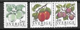 Suède 1994 N°1790/1792 Neufs Fruits Pommes Et Prunues - Suecia