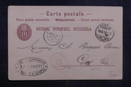 SUISSE - Entier Postal De Genève Pour Gex En 1880,cachet D'entrée En France En Rouge - L 38598 - Ganzsachen