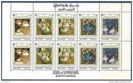 1967 ADEN UPPER YAFA  Michel  56A-60A**  Tableaux Degas, Feuillet De 2 - Ver. Arab. Emirate