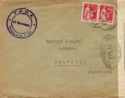 Date Imprécise - Enveloppe Du Doubs Affr. Paire 50 C Paix Pour Belfort - Censure G F T22 - Guerre De 1939-45