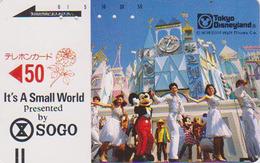 Télécarte Ancienne Japon / 110-22535 - DISNEY DISNEYLAND - SMALL WORLD - Japan Front Bar Phonecard / B - Balken TK - Disney