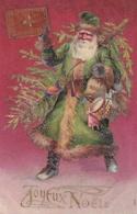 JOYEUX NOËL - Père Noël Vert Portant Un Sapin Et Des Jouet - Carte Gaufrée N°434- Santa Claus Green - Santa Claus