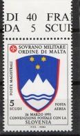 PIA - SMOM - 1994 : Convenzione Postale Con La Slovenia - (SAS  P.A.  50) - Malte (Ordre De)