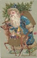 JOYEUX NOËL - Père Noël Bleu - Santa Claus Bleue - Renne,sapin ,jouets - Santa Claus
