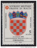 PIA - SMOM - 1995 : Convenzione Postale Con La Croazia - (UN  P.A.  51) - Sovrano Militare Ordine Di Malta