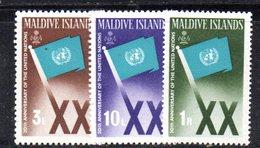 APR1478 - MALDIVE 1965 , Serie  Yvert N. 164/166  ***  MNH  (2380A) . Onu - Maldive (...-1965)