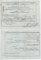 Billet De Route An 4 - 19.8.1796 Hôpital De Milan Militaire Français 10e Régiment De Chasseurs Colmar - Documents Historiques