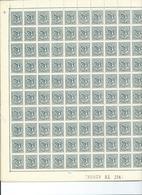 België Nr. 1027 30C Olijfgroen In 4 Panelen Van 100 Zegels - Feuilles Complètes