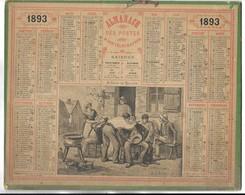 CALENDRIER De 1893 - Format 26.5 X 21 Cm - 3 Feuillets Au Verso De La Gironde - Groot Formaat: ...-1900