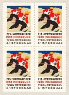 1933 FIS Wettkämpfe Innsbruck Wintersport Vignetten; Im 4er Block - Publicités