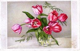Tulpenstrauß Grußkarte 1945 Karlshof Chiemsee - Blumen