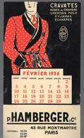 Paris Rue Montmartre: Buvard  Calendrier Février 1936 HAMBERGER (PPP11271) - Textile & Clothing