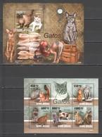 BC719 2010 GUINE GUINEA-BISSAU PETS CATS GATOS 1BL+1KB MNH - Gatti