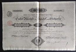ÖSTERREICH * CREDITANSTALT FÜR HANDEL UND GEWERBE * ACTIE * 320 KRONEN * 1906 * SCANS - Banque & Assurance