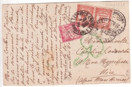 Rare TAXE MIXTE 40 Rose BANDEROLE DUVAL & Timbres Recouvrements 60c En Paire / Carte Non Affranchie D'Italie 1926 > Nice - Strafport