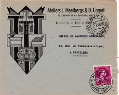 Huy Enveloppe Illustrée Art Nouveau 1946 - Frankrijk