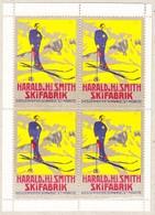 Um 1910 Harald & Smith Skifabrik Diessenhofen Schweiz - St. Moritz; Kleinbogen à 4 Stück - Publicités
