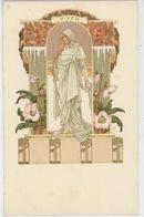 FEMMES - Jolie Carte Fantaisie Femme ART NOUVEAU - Les Saisons : HIVER - Signée ELISABETH SONREL (carte Précurseur) - Altre Illustrazioni