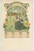 FEMMES - Jolie Carte Fantaisie Femme ART NOUVEAU - Les Saisons : PRINTEMPS - Signée ELISABETH SONREL (carte Précurseur) - Künstlerkarten