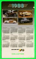 CALENDRIER 1988 - 4 VOITURES DE TOURISME ANCIENNE - PUBLICITÉE  UAP - DIMENSION 10 X 18 Cm - - Petit Format : 1981-90