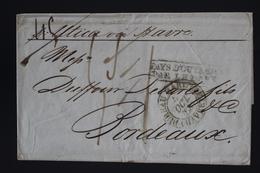 France Cover New York A Bordeaux Pays D'outremer Par Le Havre  Bureau Maritime  Havre 1837 Fragile - Marcofilie (Brieven)