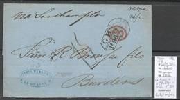 France -Lettre De LA GUAYRA - Pour Bordeaux - 1872 - Marque D'echange Franco Britannique 1f90 - Postmark Collection (Covers)