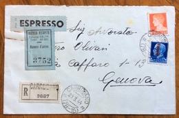 REPUBBLICA SOCIALE CARRODANO Lineare+ CARRODANO (78-15) SU 1,75+1,25 RACCOMANDATA ESPRESSO PER GENOVA - 4. 1944-45 Sozialrepublik