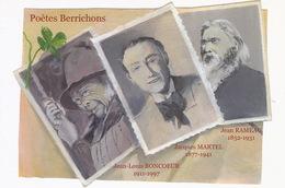 CP Poètes Berrichons Jean Louis Boncoeur Né à La Chatre , Jacques Martel Né à Léré Jean Rameau - La Chatre