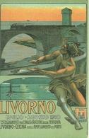 Livorno 1910, Inaugurazione Ferrovia Livorno-Cecina E Ampliamento Porto, Riproduzione C19, Reproduction, Illustrazione - Inaugurazioni