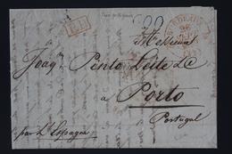 France Lettre Bordeaux A Porto Portugal  PP Rouge Tax 600 Bleu 1839 - 1801-1848: Précurseurs XIX