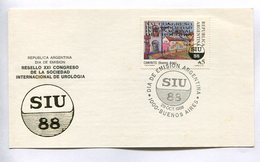 RESELLO XXI CONGRESO DE LA SOCIEDAD INTERNACIONAL DE UROLOGIA. ARGENTINA 1988 TARJETA DIA DE EMISION FDC CARD - LILHU - Medicina