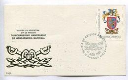 QUINCUAGESIMO ANIVERSARIO DE GENDARMERIA NACIONAL. ARGENTINA 1988 TARJETA DIA DE EMISION FDC CARD - LILHU - Militares