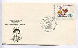 CAMPAÑA PRO SUPERVIVENCIA INFANTIL. VACUNACION DERECHO NIÑO. ARGENTINA 1987 TARJETA DIA DE EMISION FDC CARD - LILHU - Medicina