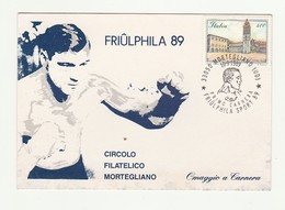 Cartolina Postale Affrancata CIRCOLO FILATELICO MORTEGLIANO PRIMO CARNERA 1989 - Personalità Sportive