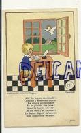 Image Pieuse. Enfant Qui étudie, Colombe. Dorée. Zonnewende 6,5/10,5 Cm - Images Religieuses