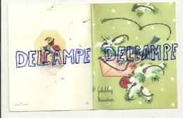 Mignonnette Double De Voeux. Gelukkig Nieuwjaar. Mésange, Enveloppe, Sapin. Paillettes. 9/11,5 Cm JC - Neujahr