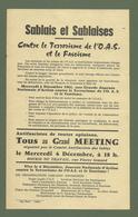 DOCUMENT LES SABLES D OLONNE TRACT MEETING CONTRE LE TERRORISME DE L OAS ET LE FASCISME 12/1961 - Documents Historiques