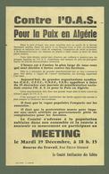 DOCUMENT LES SABLES D OLONNE TRACT MEETING CONTRE  L OAS POUR LA PAIX EN ALGERIE 12/1961 - Documents Historiques