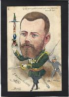CPA Bobb Satirique Caricature Circulé Dessin Original Fait Main Tsar Nicolas II Russie Japon Guerre War - Satira
