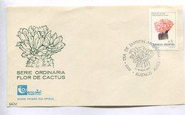 SERIE ORDINARIA FLORES DE CACTUS - GYMNOCALYCIUM BRUCHII. ARGENTINA 1987 TARJETA DIA DE EMISION FDC CARD - LILHU - Cactus