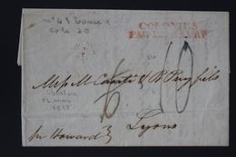 France Lettre Boston USA A Lyon 1827 COLONIES PAR LE HAVRE, - Marcofilie (Brieven)