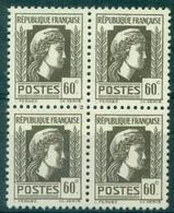 FRANCE N° 634 VARIETE MENTON RETOUCHE DANS 1 BLOC DE 4 Neuf Xx TB. - Variétés: 1941-44 Neufs
