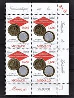 MONACO 2008  - BLOC DE 4 TP / Y.T. 2641 - NEUFS ** COIN DE FEUILLE / DATE - Monaco