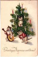 Tomcat With A Guitar, Christmas. Vintage Latvian PC 1930s - Katten