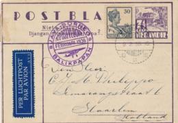 Nederlands Indië - 1936 - 7,5 Cent Karbouw, Postblad G3b + 30 Cent Met Speciale Vlucht Balikpapan-Soerabaja Naar Haarlem - Nederlands-Indië