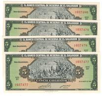 El Salvador 5 Colones 1983, UNC, COSEC. NUMBERS. (7.50 Usd X1) - El Salvador