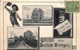 Luxembourg - Berchem-Bivingen - Neues Schulhaus - Bahnhof Avenue - Cartes Postales