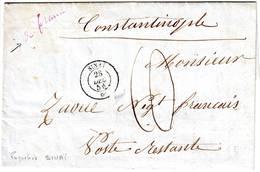 Cachet De Paquebot SINAI Sur Lettre De Marseille Pour POSTE RESTANTE à CONSTANTINOPLE 28 DEC 1854 - Marcophilie (Lettres)