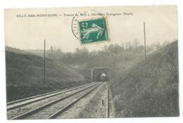 CPA RILLY SUR MONTAGNE, PASSAGE DU TRAIN, LOCOMOTIVE SOUS LE TUNNEL DE RILLY A GERMAINE, MARNE 51 - Rilly-la-Montagne